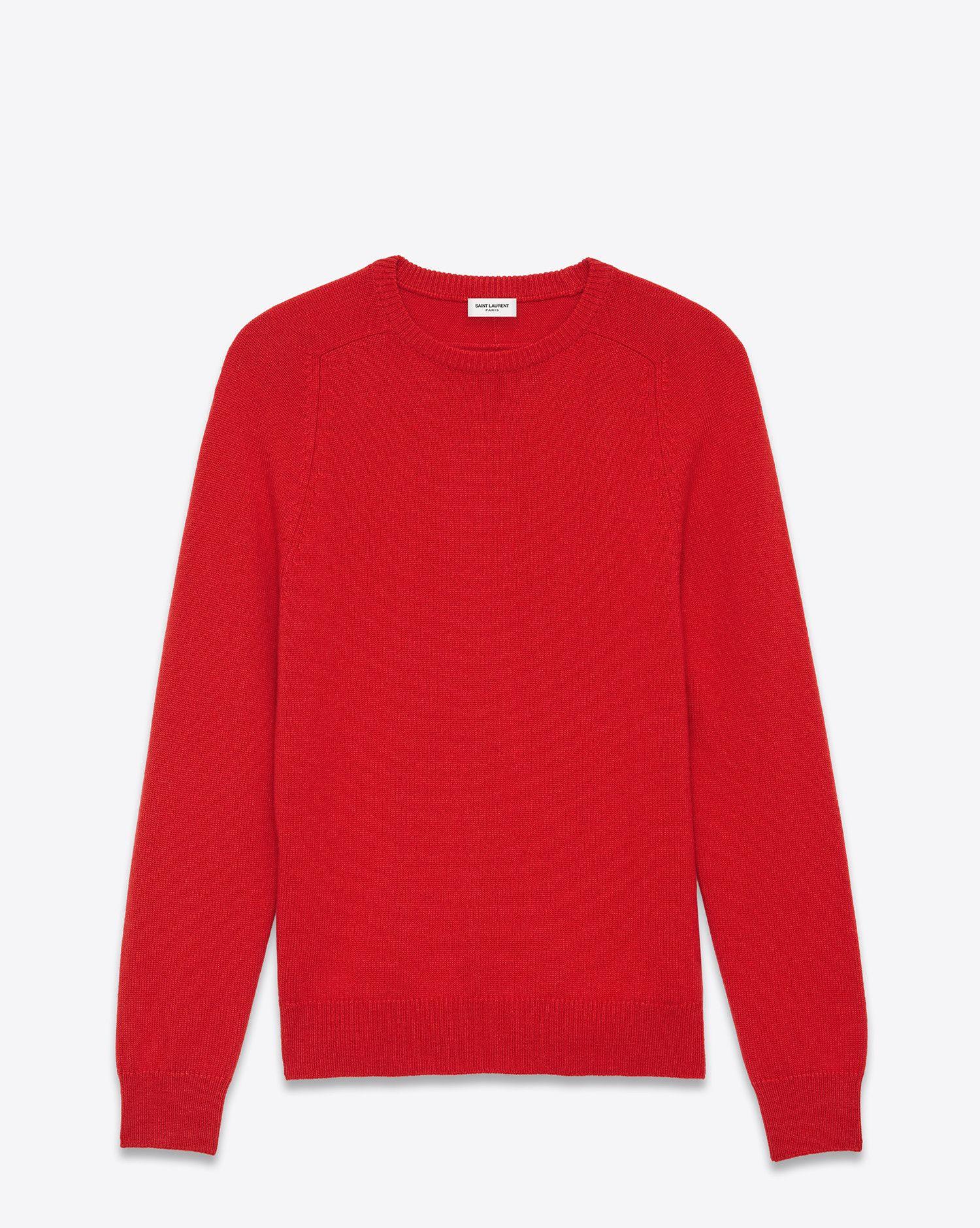 4f99fff2be6925 Saint Laurent Classic SAINT LAURENT Crewneck Sweater In Red Cashmere $990,  sold out.