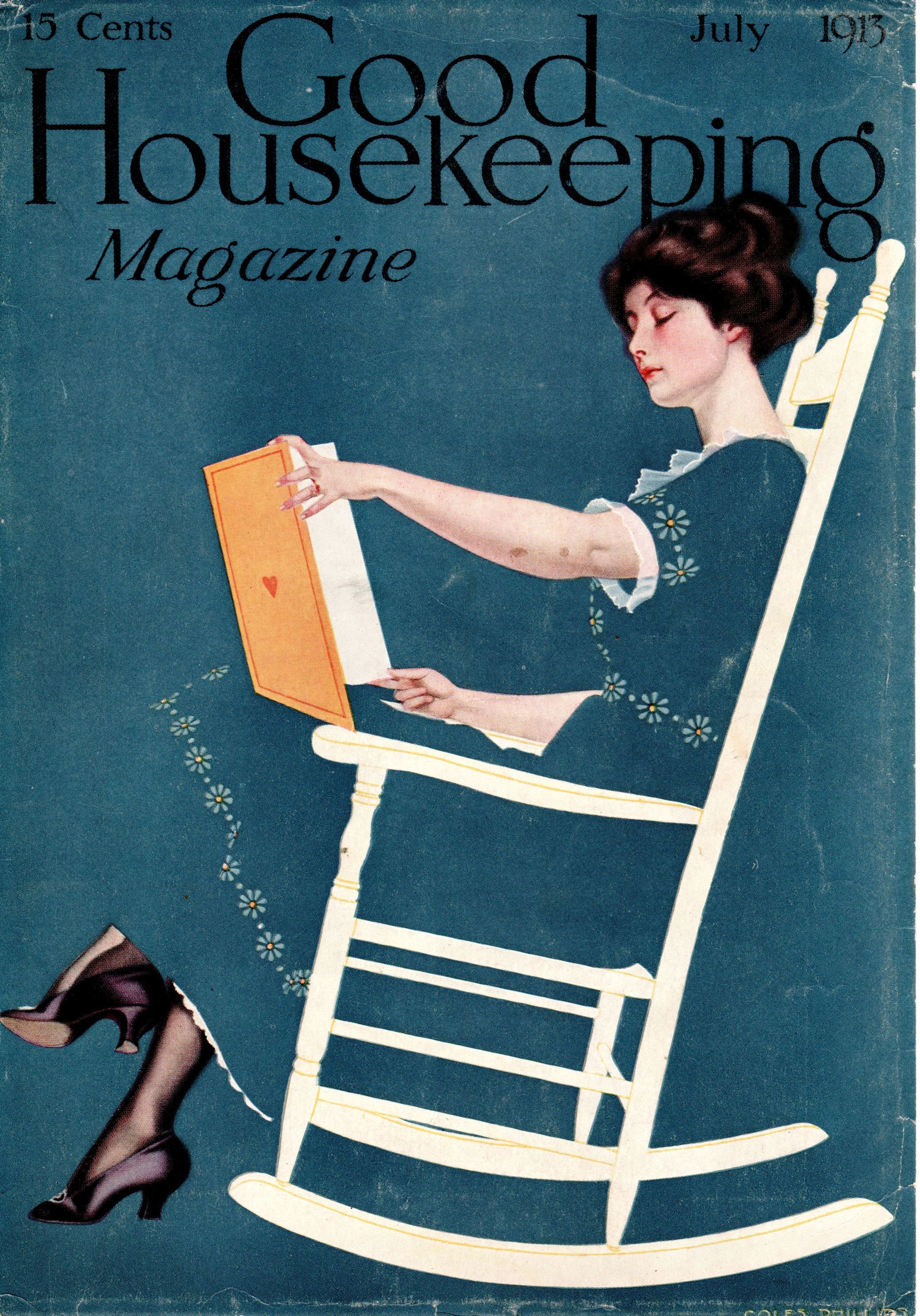 Coles Phillips - Good Housekeeping Magazine cover (July 1913) Fadeaway girl
