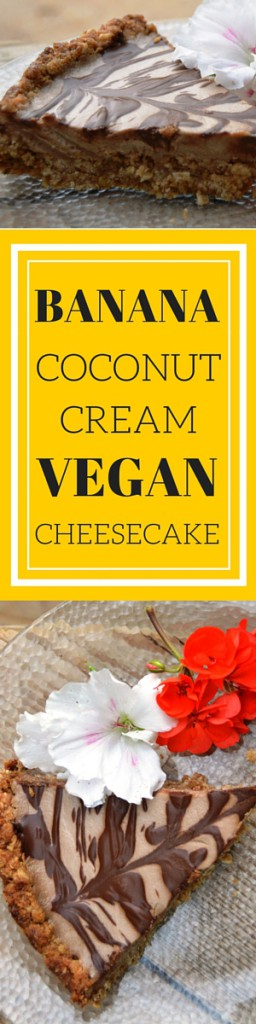 This Banana Coconut Cream Cheesecake is #VEGAN!!! Can't believe how delicious it is. Make it with an anzac biscuit crust like in this recipe or use a traditional crust