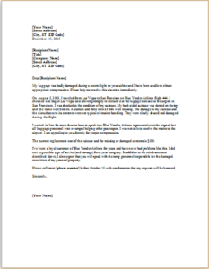 Complaint Letter About Damaged Luggage Download At HttpWww