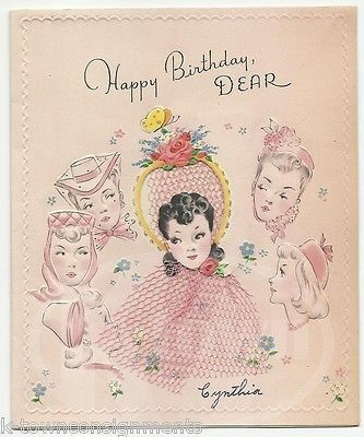 Fancy Hat Lady Girlfriends Vintage Graphic Art Birthday Greetings