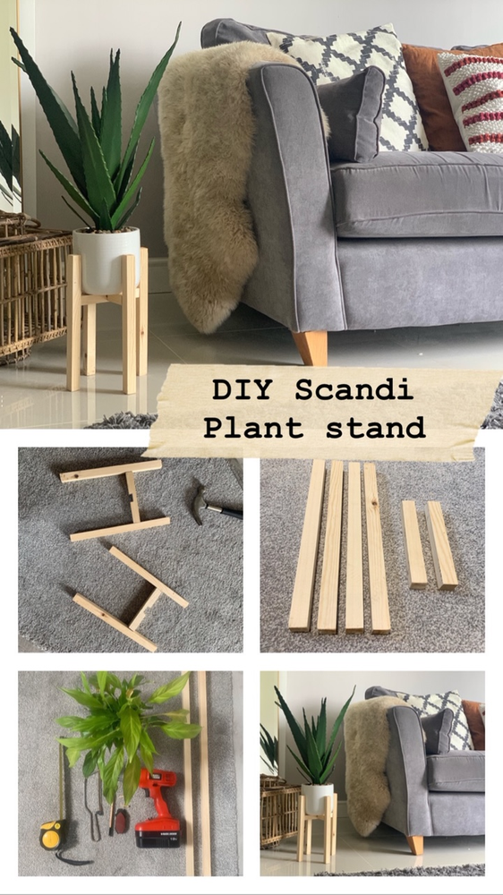 DIY Scandi wooden plant stand