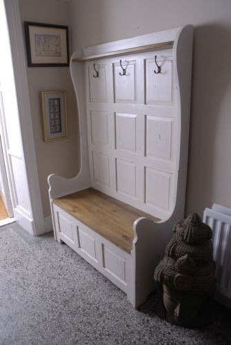 Painted Pine Three Seater High Back Monk S Bench With Lift Up Storage Seat Ebay Monks Bench