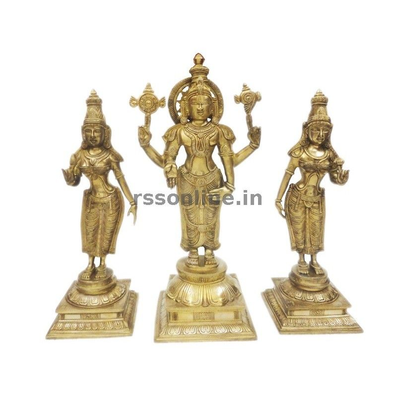 Perumal Set Brass Idols Statues BRASS & WHITE METAL IDOLS