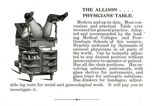 Vintage ad for a gynecology exam table.   Obstetrics