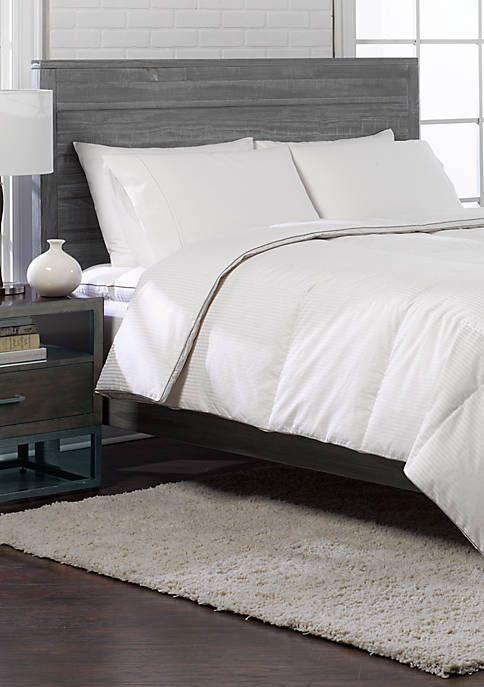 Blue Ridge Home Fashions 350 Thread Count Supreme Cotton Damask Stripe White Down Comforter