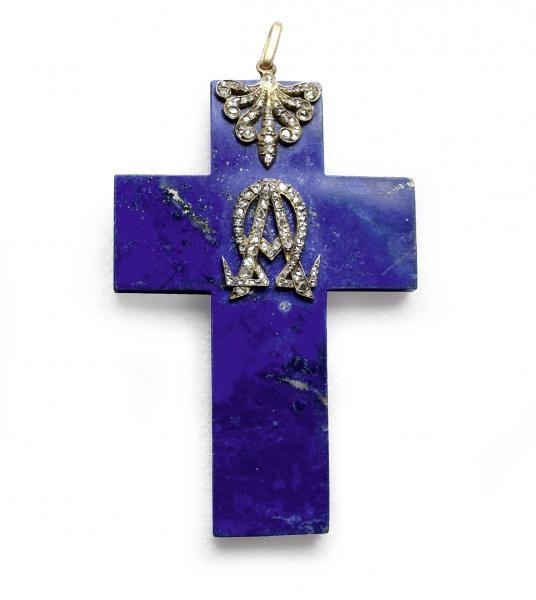Pendentif croix lapis lazuli