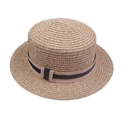 c94f95578a7 Fashion Boy Girl Straw Hat Sequins Sheer Mesh Belt Fedora Curly Brim Baby  Kids Panama Jazz Trilby Hat Cap Unisex