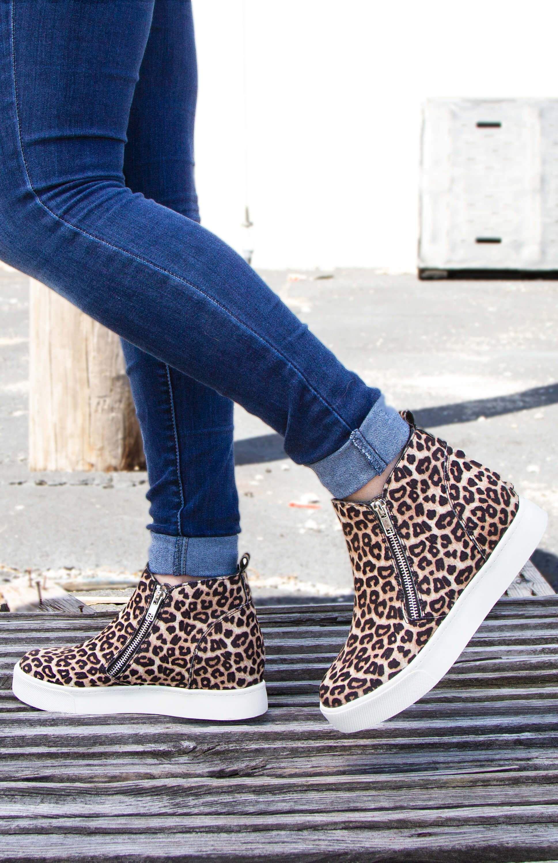 Soda Shoes Taylor Zipper Wedge Sneakers