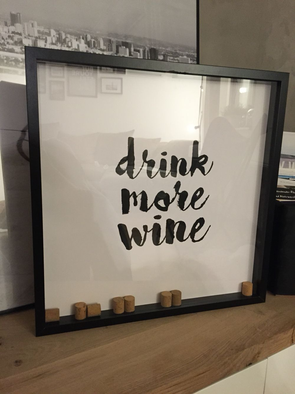 DIY Drink more wine Bild #ikea ribba Rahmen hack weinkorken #besta ...