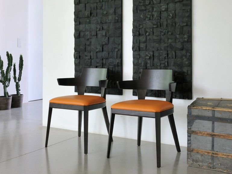 Upholstered chair with armrests CHEVAUX by Airnova by Leader