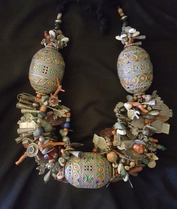 Moroccan Enamel Bead Old Moroccan Bead pendant Berber Beads Berber Tribal Jewelry Tagmout Egg Beads Tribal Jewelry Enamel Bead