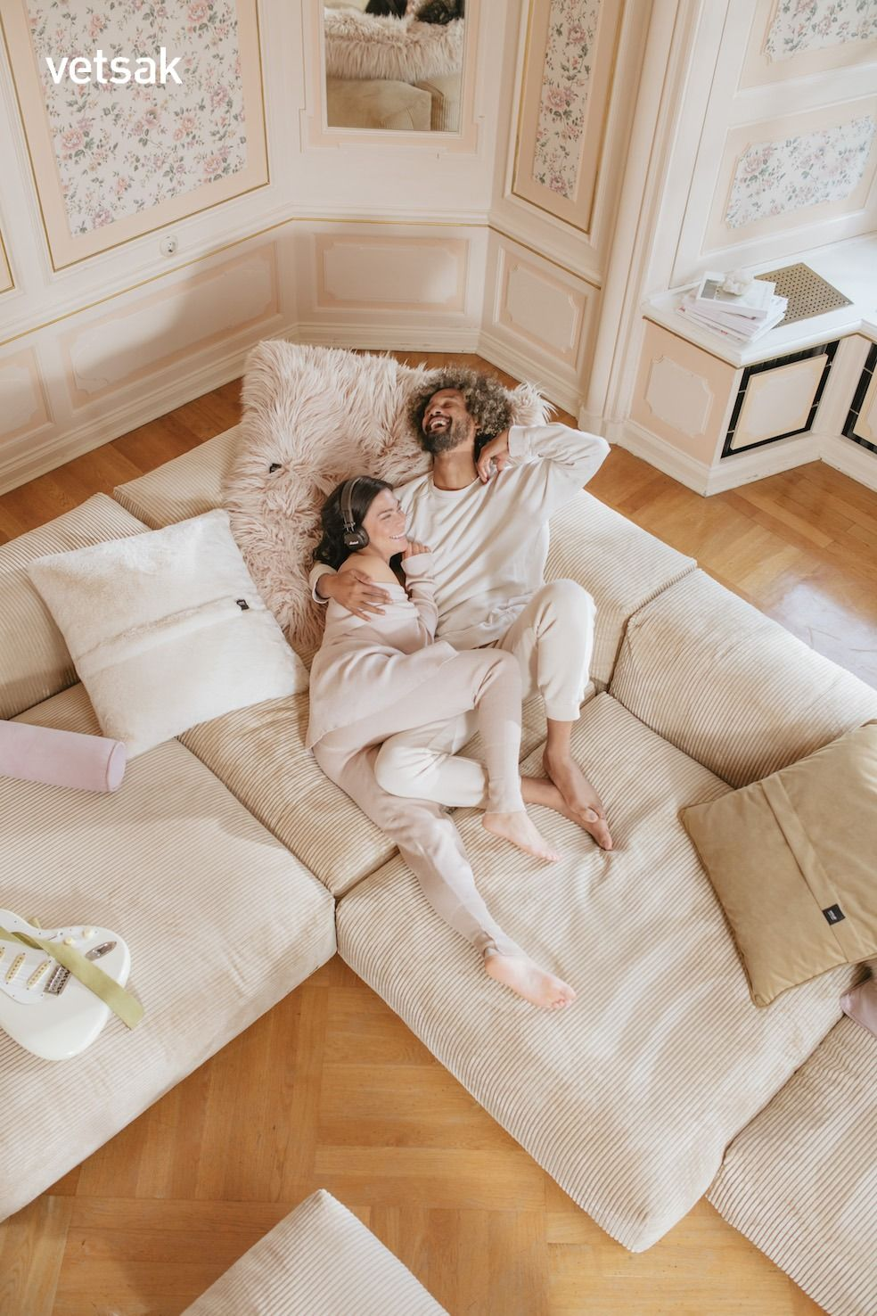 vetsak® Sofa 2 Large 2 Medium 3 Side Cord Velours sand