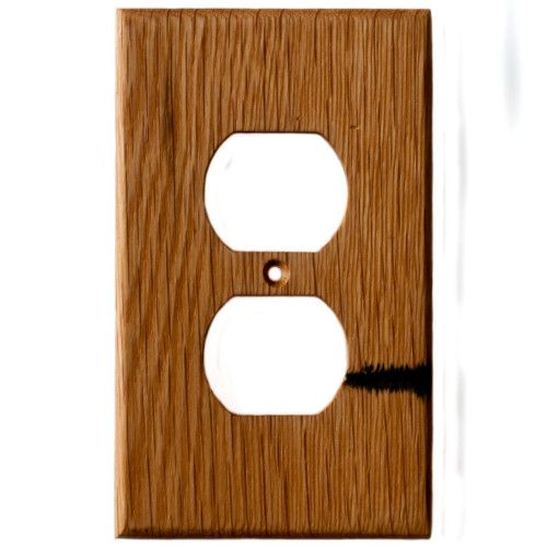 Oak Reclaimed Wood Wall Plate Single Gang Duplex Outlet Cover