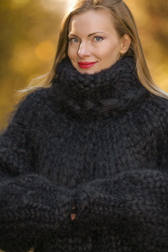 SUPERTANYA Hand Knitted Mohair Sweater BLACK MEGA THICK Thick ...