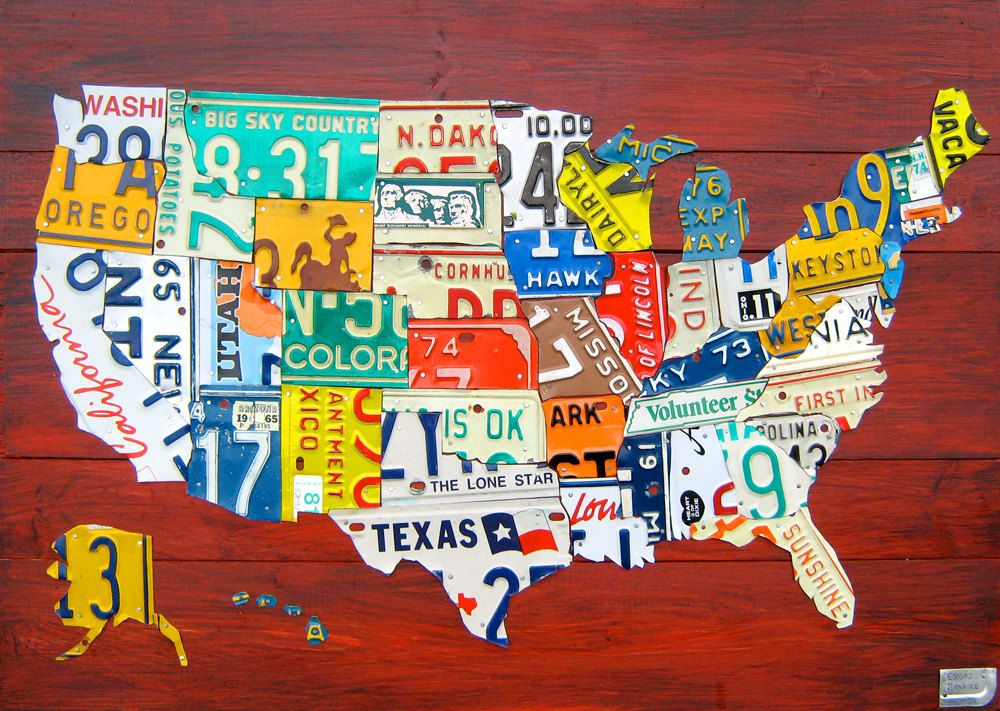 License Plate Map of the United States - Medium Size 36\