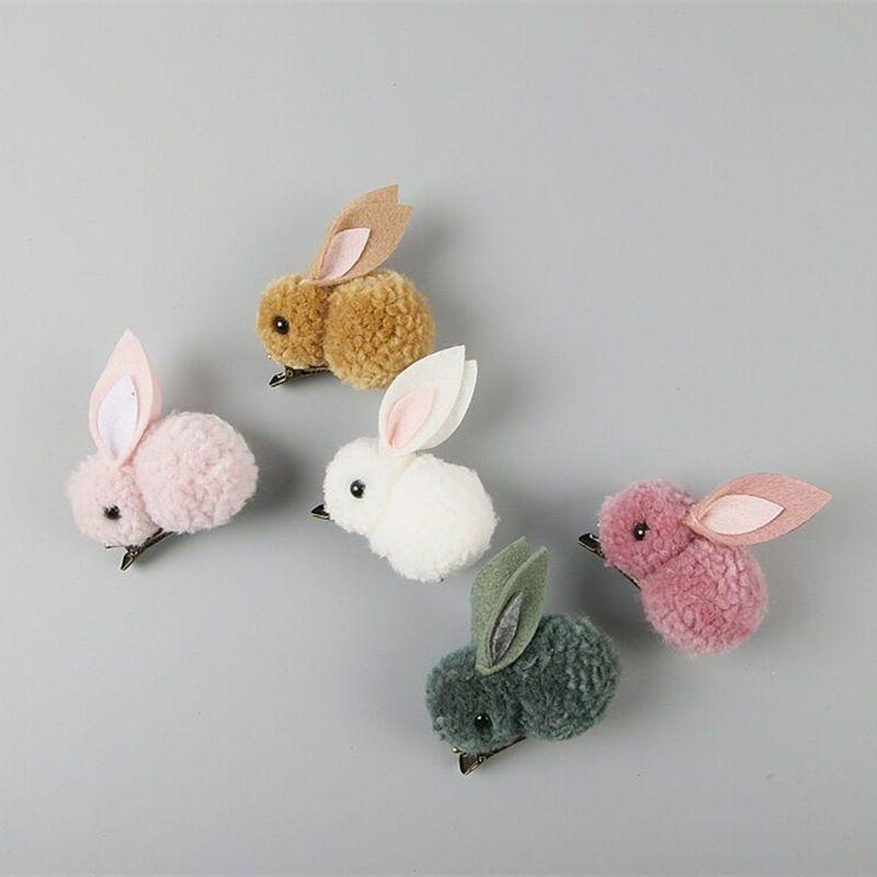 Cute Plush Rabbit Bunny Ears Kids Girl Hair Clips Bows Barrette Accessories for Children Hairclip Headdress Headwear Hairpin