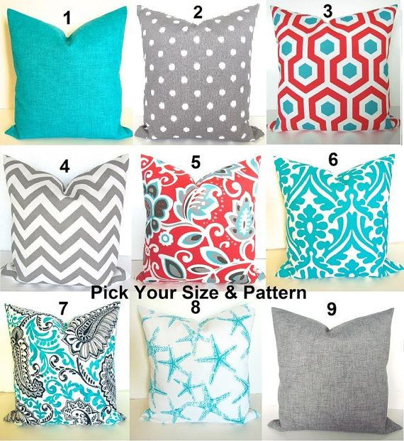 CORAL OUTDOOR PILLOWS Blue Throw Pillows Grey Decorative Pillow Covers  Turquoise Pillows Aqua Gray Outdoor Pillow