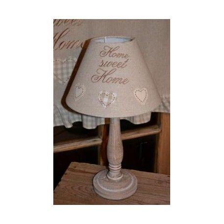 Casa Lampe lampe brodé 3 coeurs écru -home sweet home- country casa | lampes