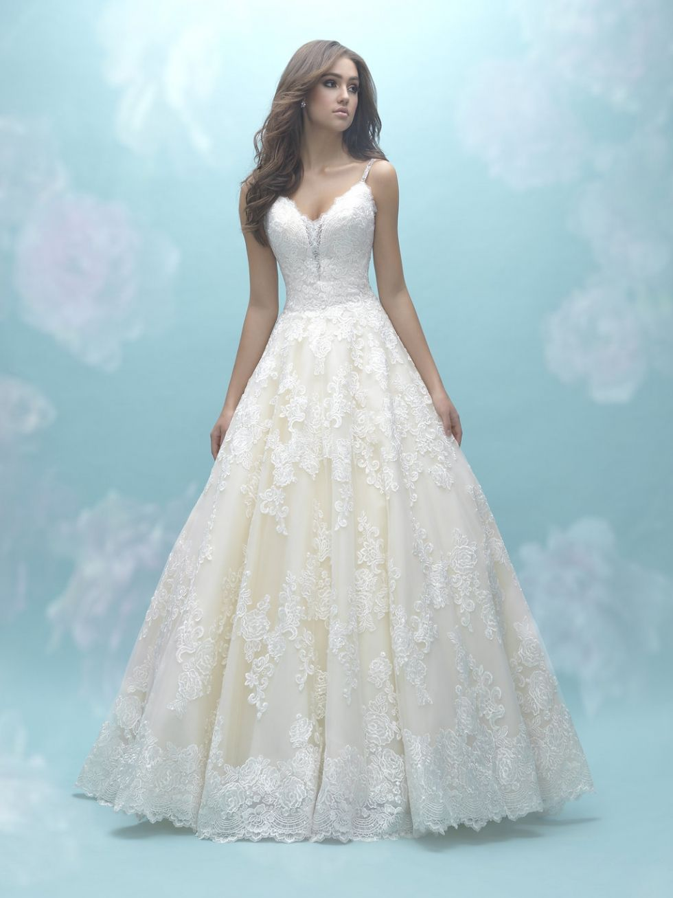 All over lace ballgown with deep v illusion neckline and spaghetti ...
