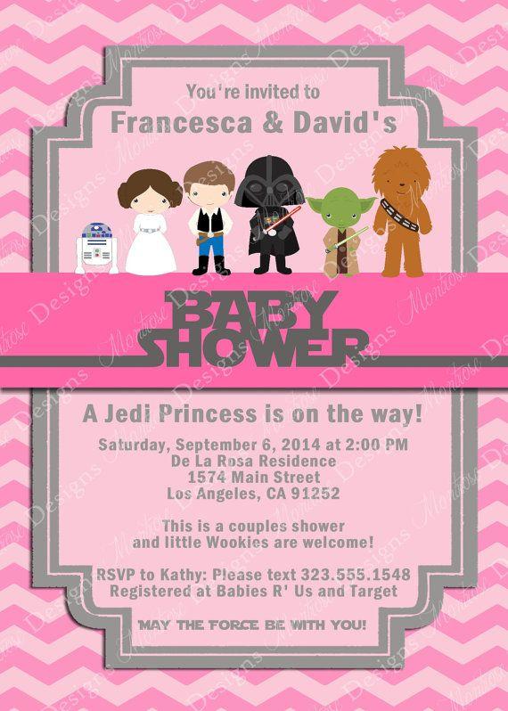 Pink Chevron Star Wars Baby Shower Invitation Welcome Jedi Princess