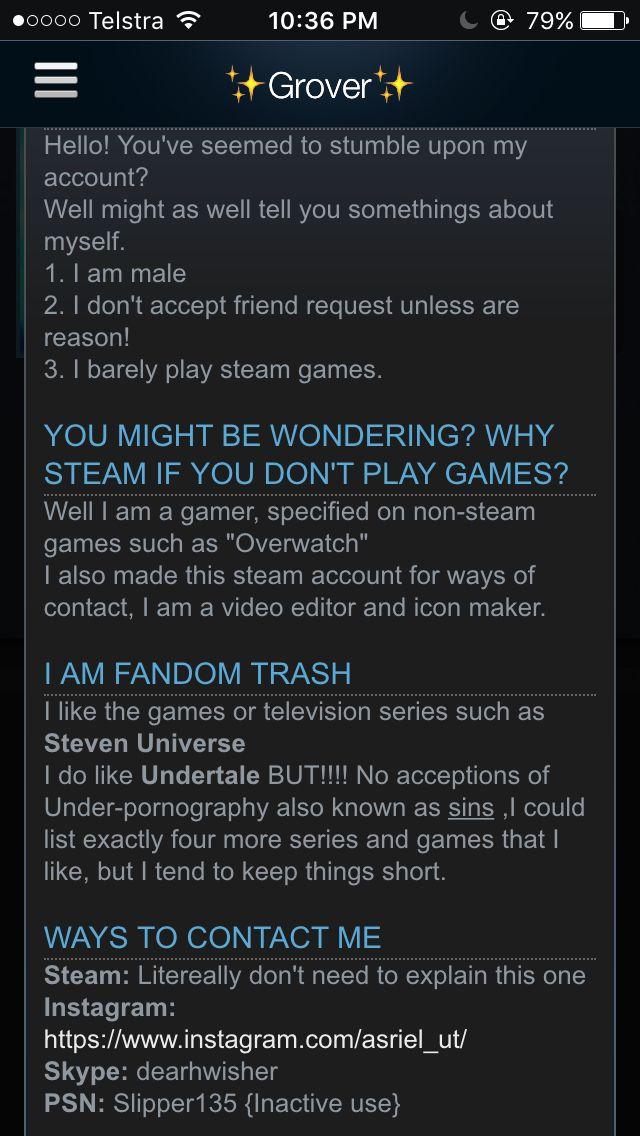 Steam bio