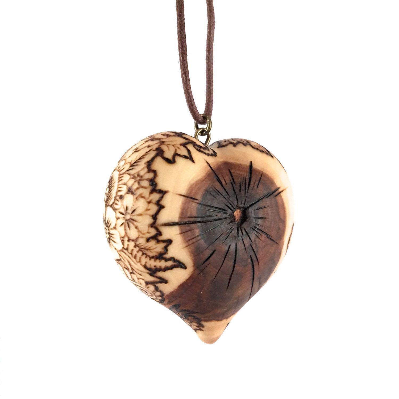 Wooden Heart Necklace Wood Heart Pendant Pyrography Pendant Wood Burned Wooden Heart Pendant