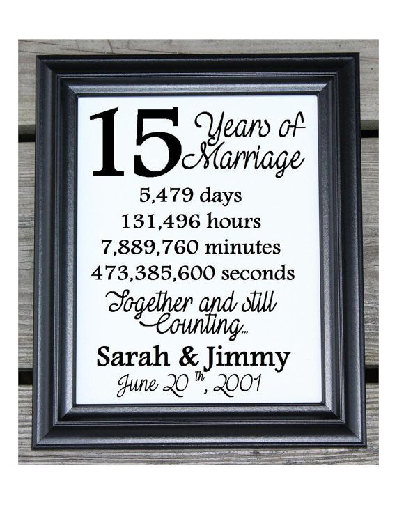 15th Wedding Anniversary Cotton Print 15th Wedding Gift 15