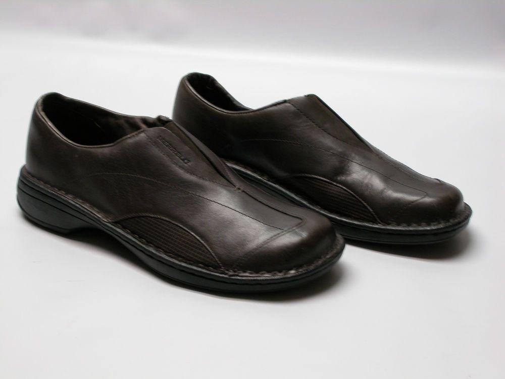 9ea079a2 MERRELL Women's 9.5 TETRA FLEX Dark Brown Leather Slip On Loafers ...