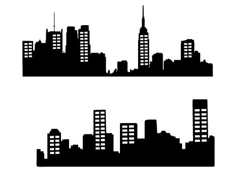 free city skyline silhouette vector city silhouette graphics rh pinterest com city silhouette vector png city silhouette vector png