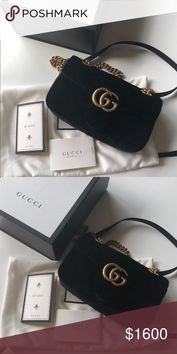 809a4d859e41f4 Gucci Marmont Velvet Mini Comes with box, dust bag, tags, receipt. PRICE IS  FIRM. Poshmark will authenticate the bag prior to shipping it to you.