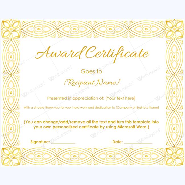Award Certificate (Golden Vintage Border)