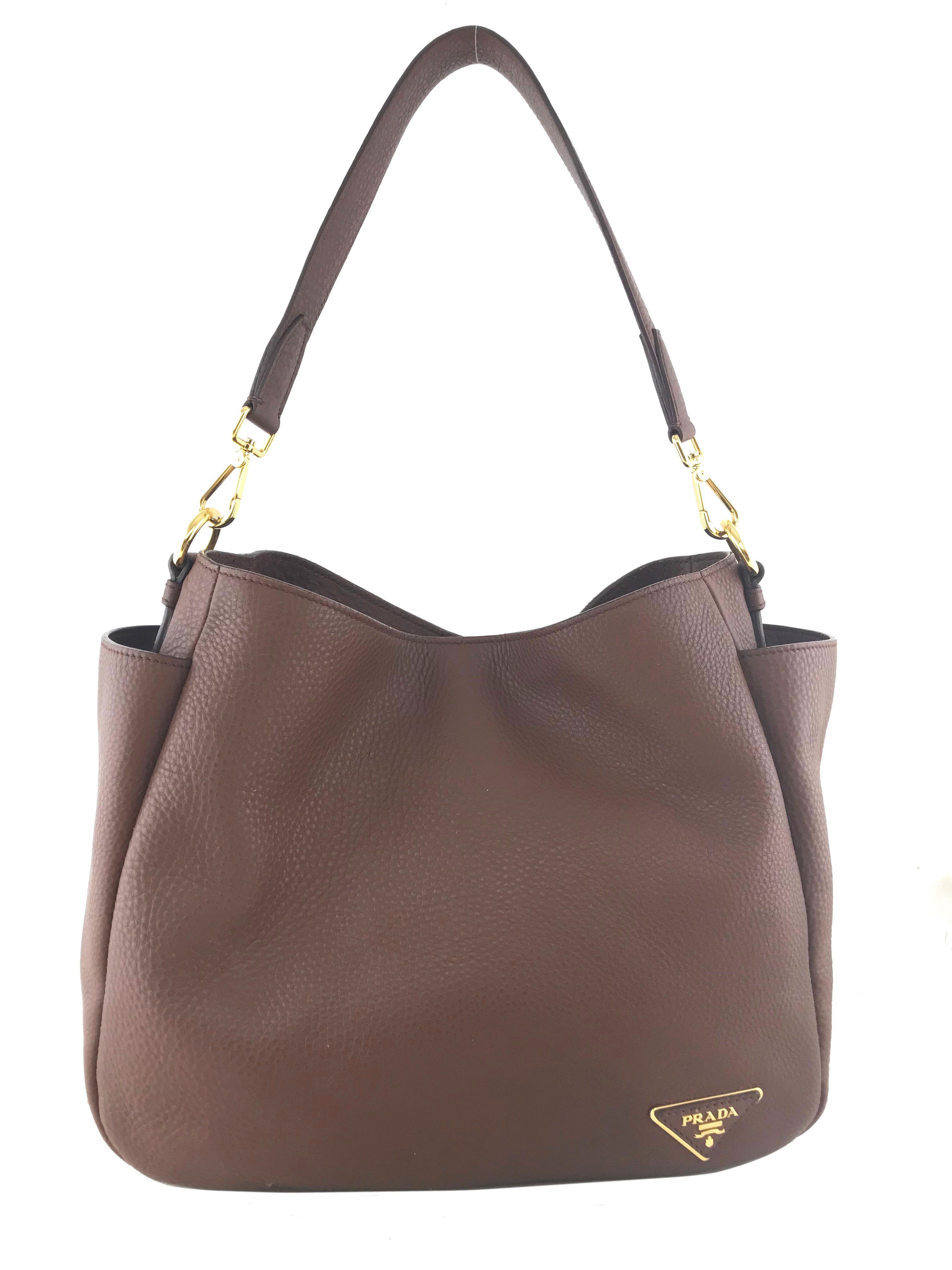 Prada Vitello Daino Leather Side Pocket Hobo Bag Handbags