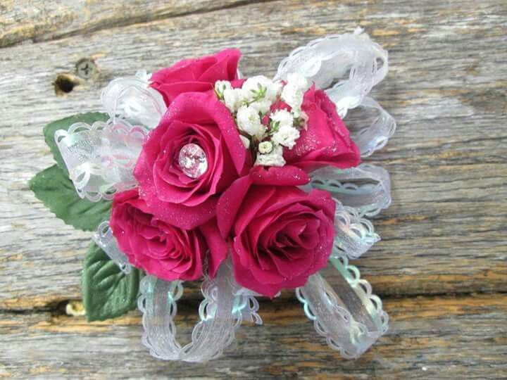 Gorgeous punk roses with bling in the middle