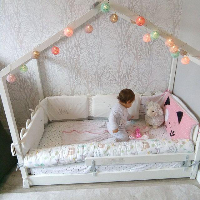 kids bed bumpers toddler floor house