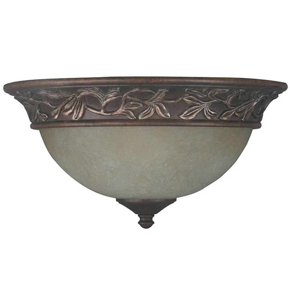 Hampton Bay 13 in Lamps, Lighting & Ceiling Fans ceiling fixture 2-Light Oil Rubbed Bronze Flushmount with Frosted Glass Shade