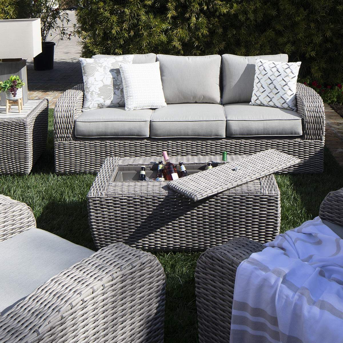 grey outdoor wicker furniture set with