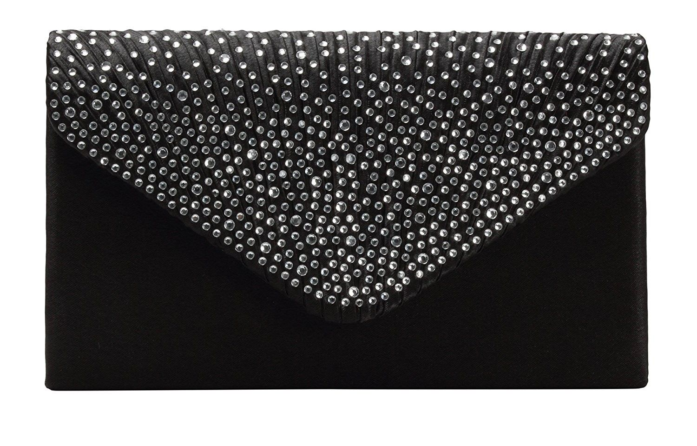 Women S Bags Top Handle Womens Evening Bag Envelope Satin Rhinestone Frosted Handbags Wedding Party Bridal Clutch Purse Black C2187ecxc5n