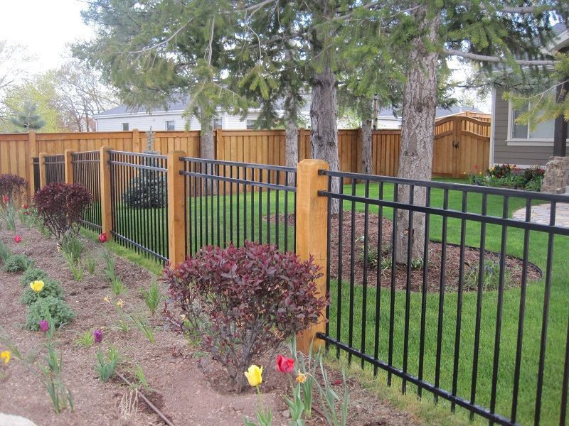 Fortress Ornamental Iron Fencing With Wood Posts With Images Front Yard Fence Backyard Fences Fence Around Pool