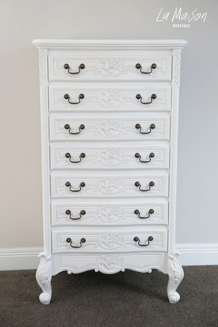 Rococo 7 Drawer Tallboy Antique White, White Lacquer Bedroom Furniture Nz