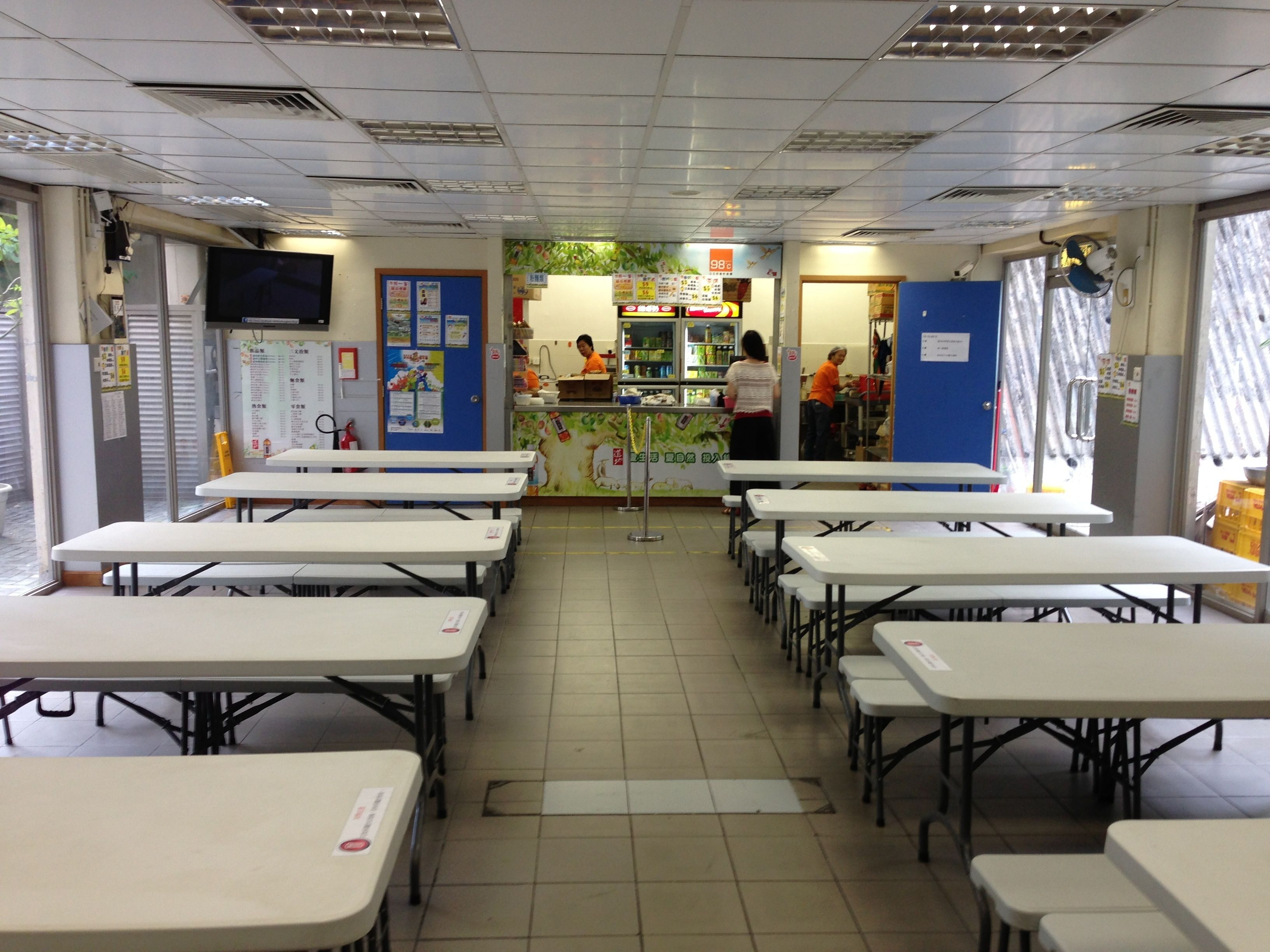 school canteen interior design with long table