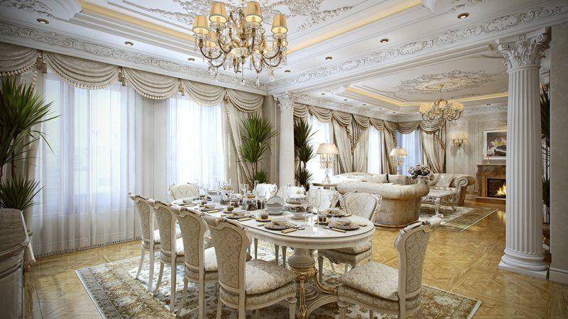 mobilier baroque en bois blanc, sol en parquet massif et lustre ...