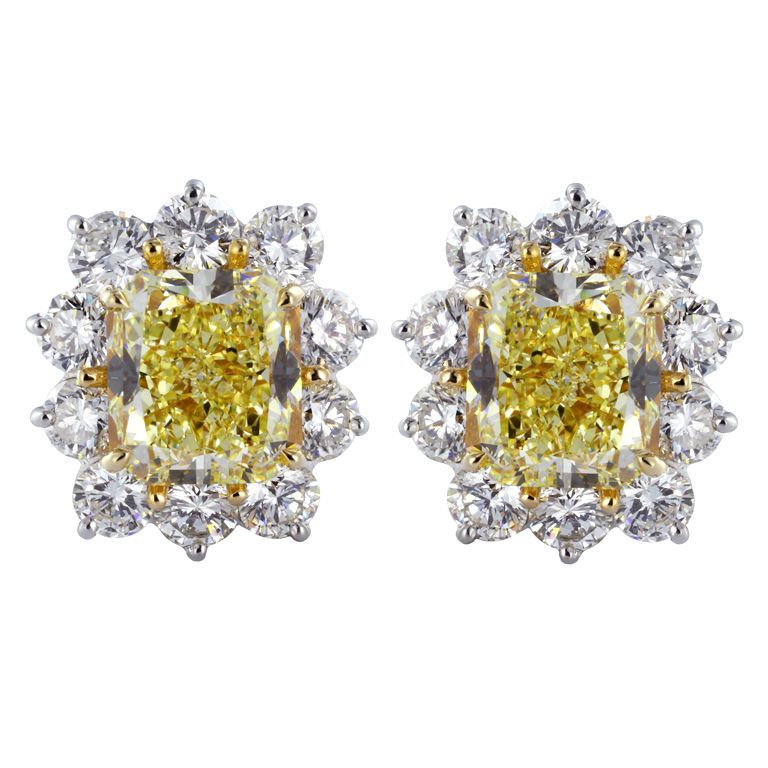 8.02ct Canary Yellow Diamond Cluster Earrings