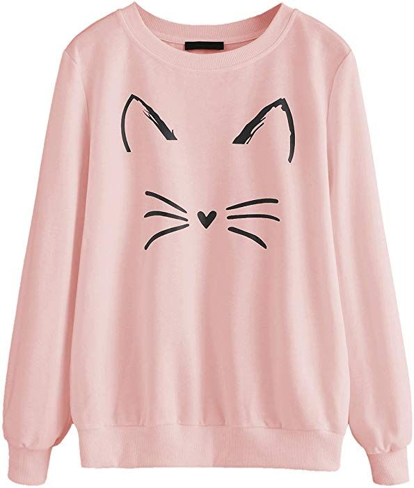 ROMWE Women s Cat Print Sweatshirt Long Sleeve Loose Pullover Shirt Pink L  at Amazon Women s Clothing store  b441c7ac6e