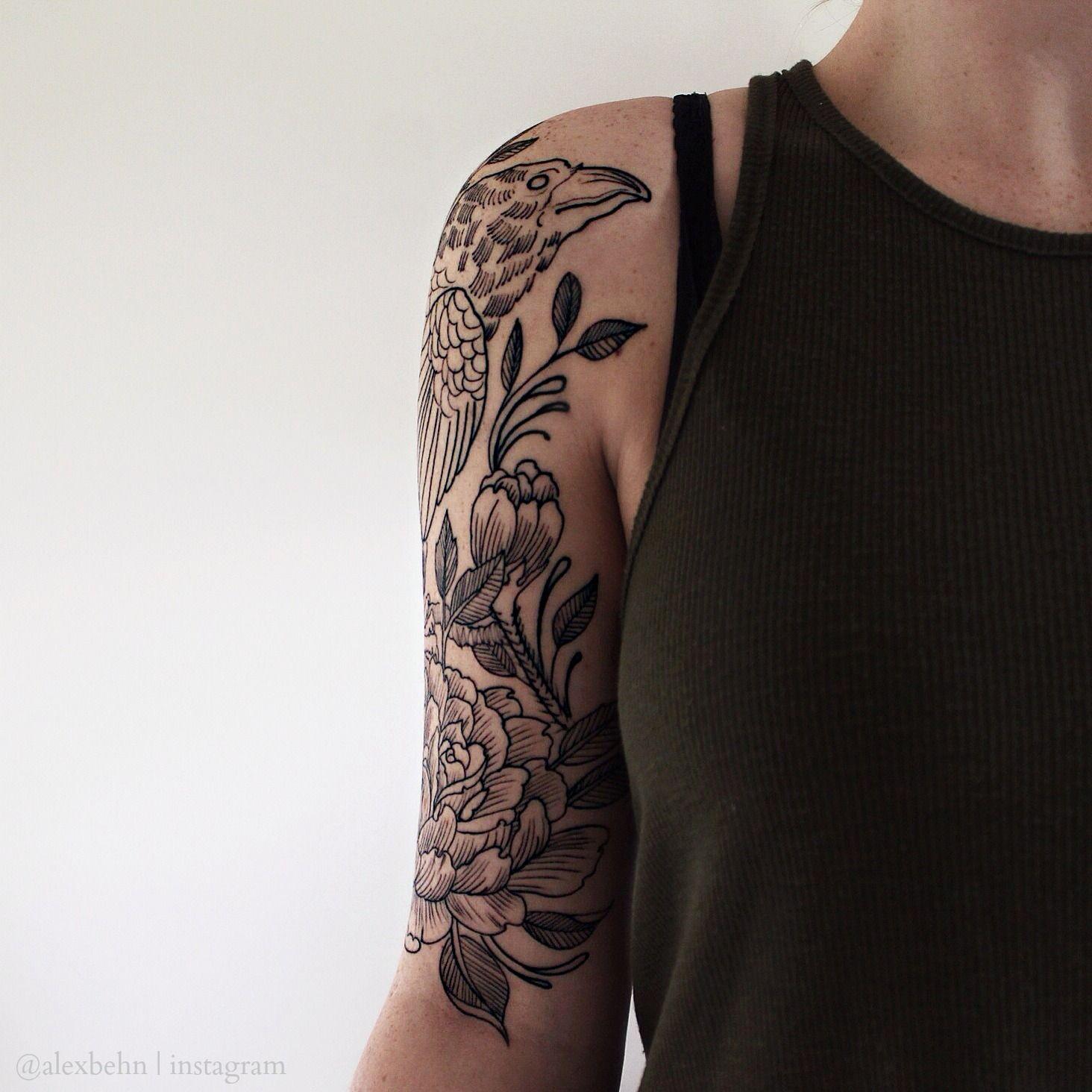 My floral and raven tattoo alex behn instagram instagram