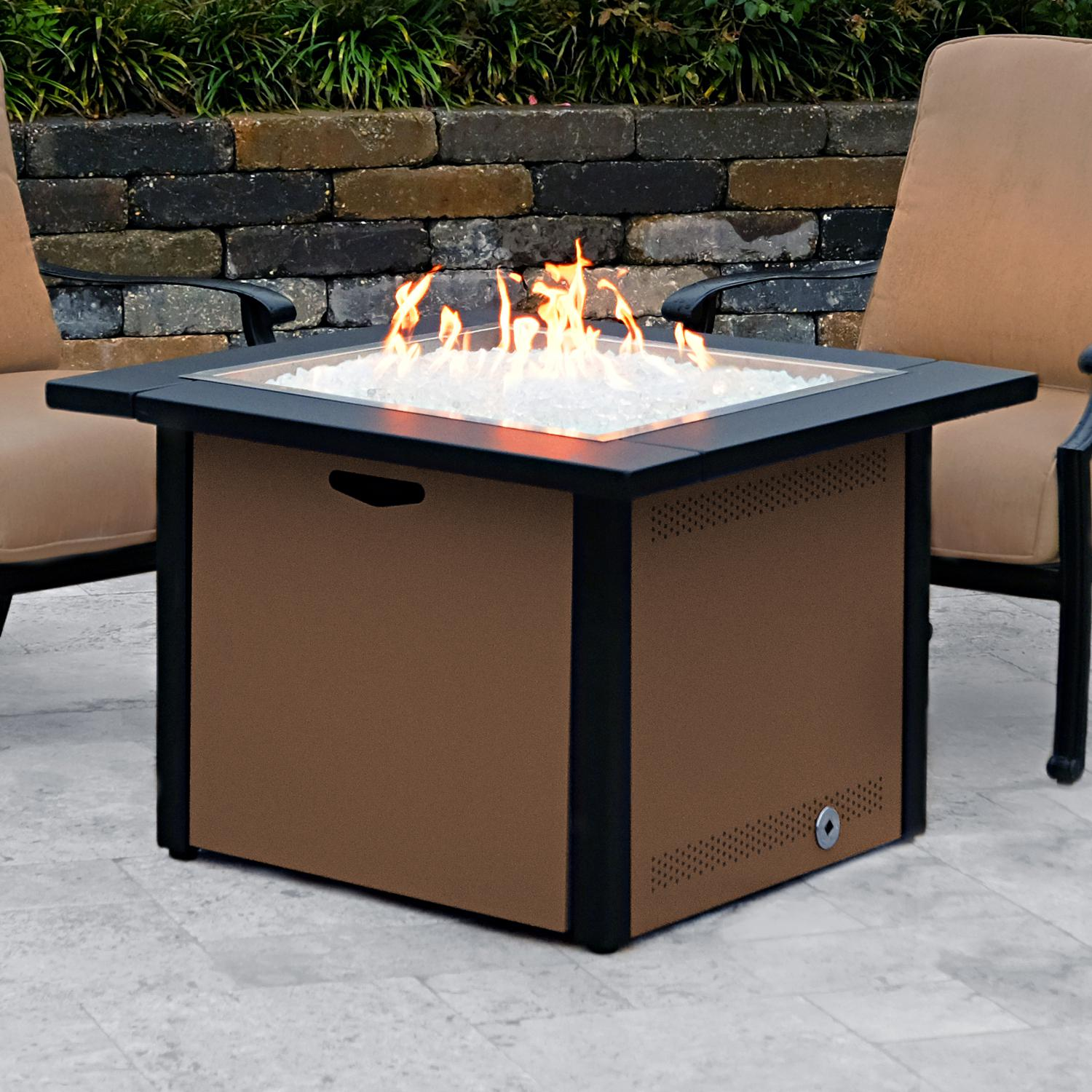 Lakeview 36 Square Propane Gas Fire Pit Table W 24 Pan And Burner Speckled Walnut Ch 36fp A Lp Sw Products In 2019 Gas Fire Pit Table Fire Pit Tabl