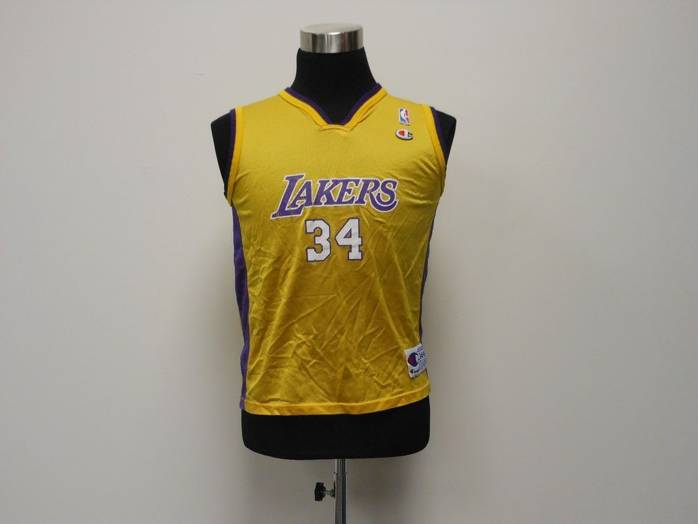Vtg 90s Champion LA Los Angeles Lakers Shaq O neal Basketball Jersey ... 8640a22e1