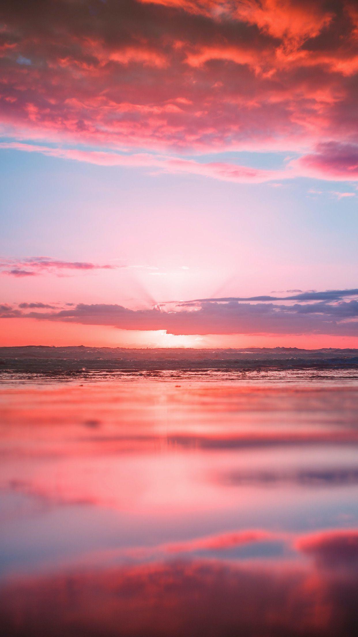 Pink sunset iPhone wallpaper Ocean wallpaper