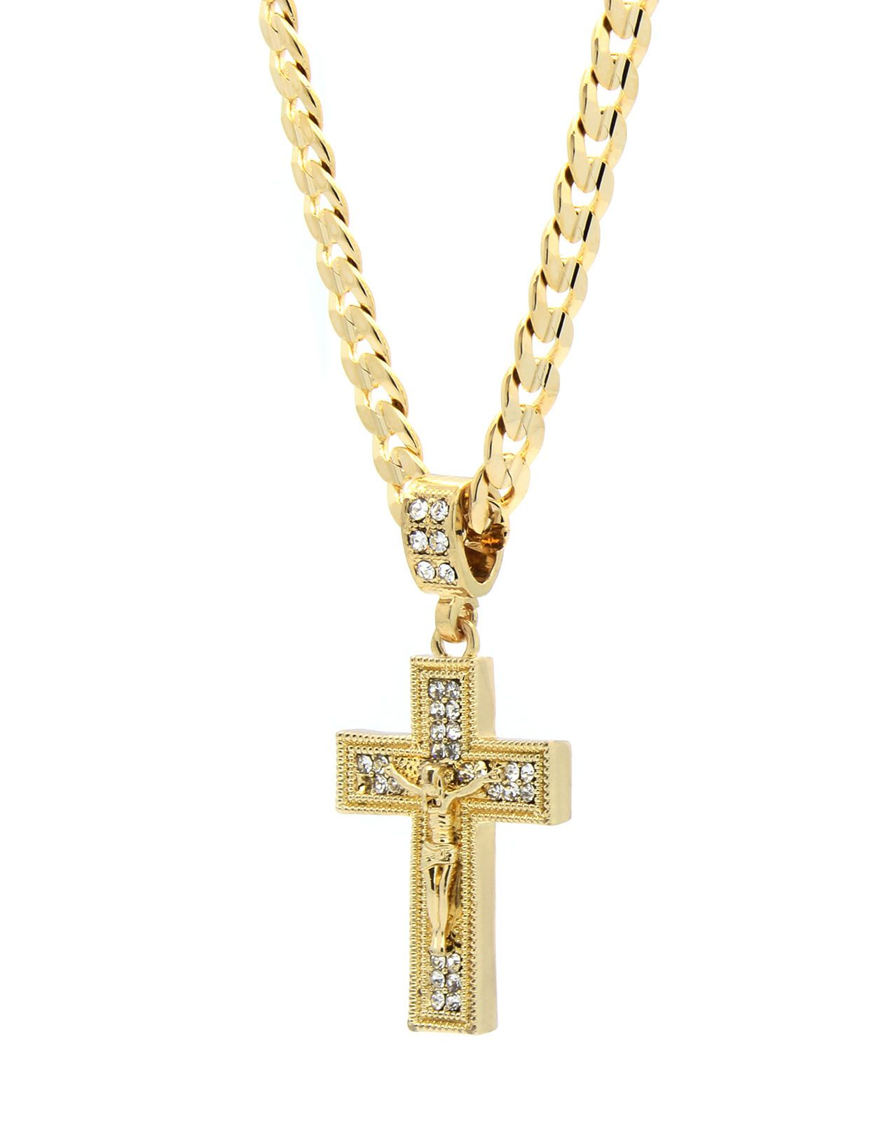 Two Tone Jesus In Crucifix Pendant And Figaro Link Chain In 14k Gold