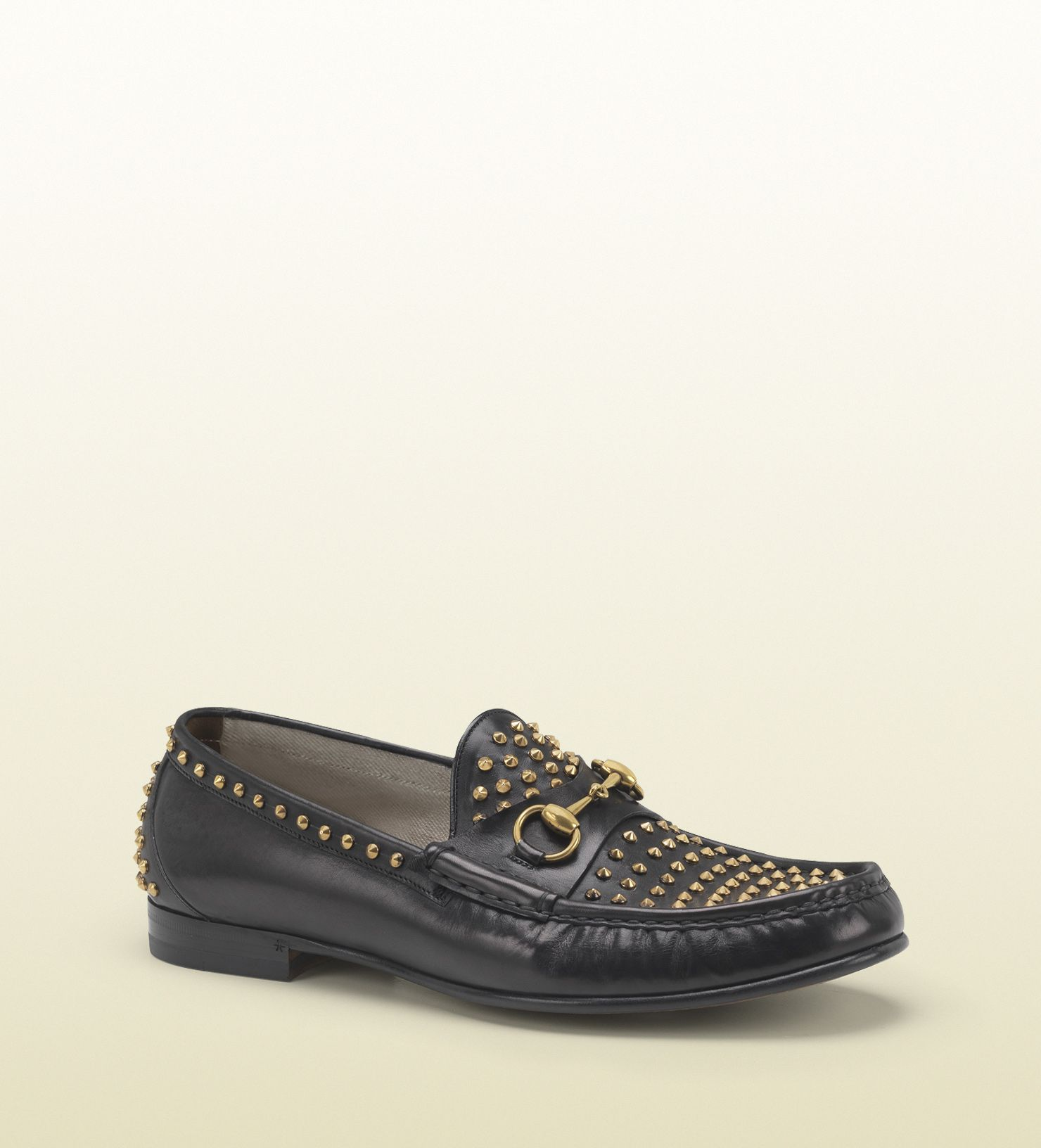 Gucci horsebit loafer 60 th. Black leather loafer with gold studs